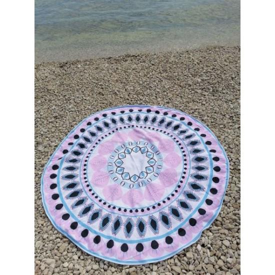 Okrogla brisača ethno pink