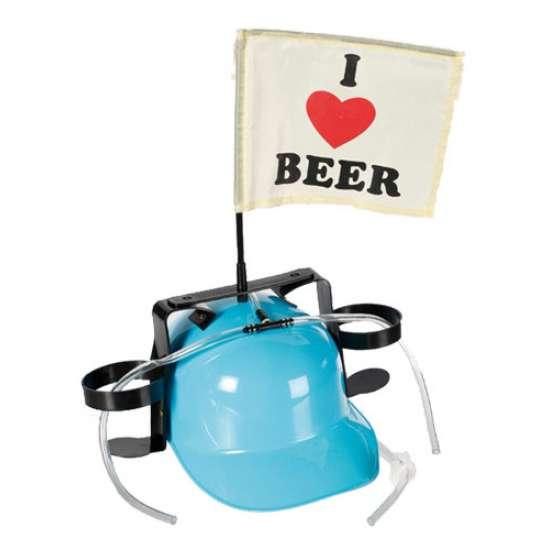 """Pivska čelada z zastavico """" I love Beer"""""""
