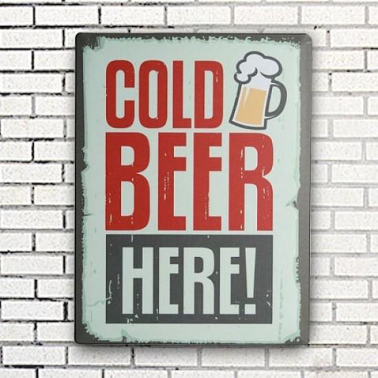 Retro pločevinast znak COLD BEER HERE - 30 x 40 cm