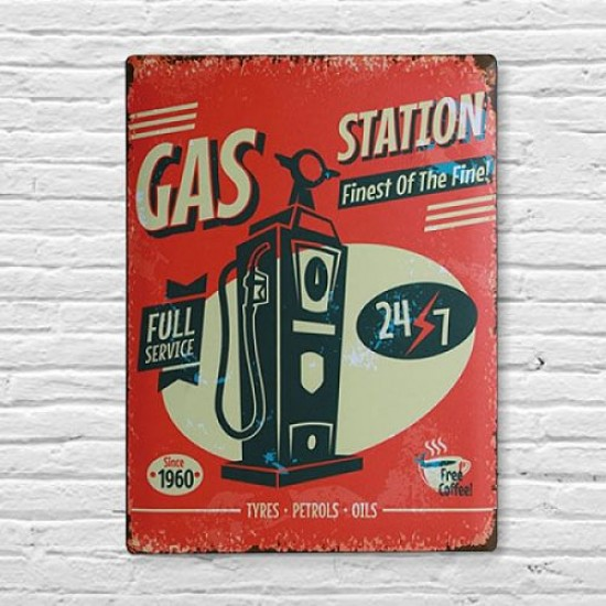 Retro pločevinast znak GAS STATION - 30 x 40 cm