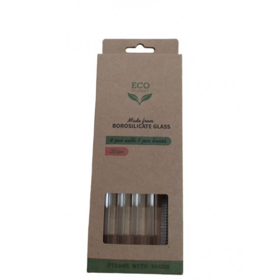 Steklene slamice (4 kosi) za večkratno uporabo z ščetko
